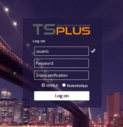 TSplus login